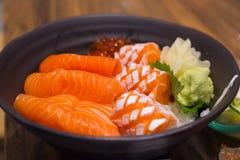 Lachse ziehen an, das japanische köstliche Lebensmittel sehr Stockfotos
