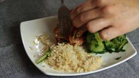 Lachsfische mit Reis und Gurke würzen und kochend stock video