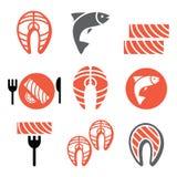 Lachsfische und Mahlzeit - Lebensmittelikonen eingestellt Stockfoto