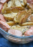 Lachskartoffelkasserolle Lizenzfreies Stockbild