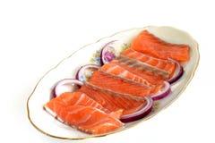 Lachsscheiben für ein Sandwich Lizenzfreie Stockbilder