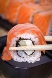 Lachssushi Rolls Stockfoto