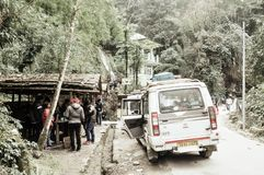 Lachung, Sikkim, Gangtok, India, 1st, January 2019: Tourist people taking a halt near Butterfly Waterfalls or Seven Sisters stock image