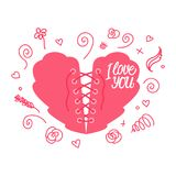 Lacing heart. Valentine`s Day. Heart with lacing as a corset. Vector illustration isolated on white background. Valentine`s Day. Lacing heart. Heart with lacing Stock Image