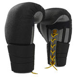 Lacing leather boxing gloves Stock Photography