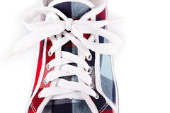 Lacing on sports footwear- close up Royalty Free Stock Images