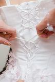 Lacing up a wedding dress Stock Photography