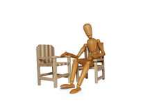 Lack of communication. Represented by a man in a chair and a missing partner Royalty Free Stock Photography