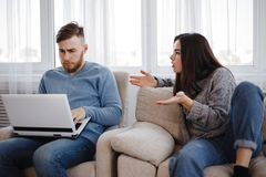 Angry woman quarrel to man ignoring her royalty free stock photos