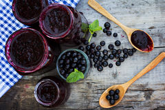 Вlack currant jam. On the old table Royalty Free Stock Photos