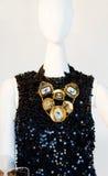 Lack designer dress and jewelery Stock Photography