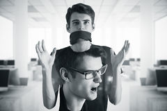 Lack of freedom of speech. Double exposure. Black and white image Stock Photography