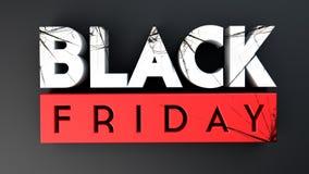 Lack Friday crushing 3D on black background. 3d render Stock Image