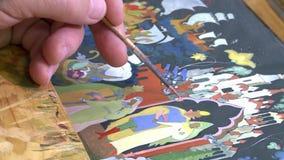 Lack Miniatur-Palekh Ein Bild wird auf den Kasten zugetroffen stock video footage