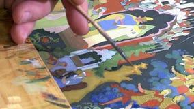 Lack Miniatur-Palekh Ein Bild wird auf den Kasten zugetroffen stock footage