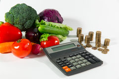 Lack of money on health food, poverty concept. Lack of money on health food, poverty social status people concept. Fresh ripe vegetable composition against a stock photography