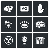Lack of natural resources, electricity and heat icons. Vector Illustration Stock Photos