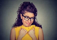 Free Lack Of Confidence. Shy Woman Feels Awkward Stock Images - 89153204