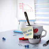 Lack of Performance, Losing Job. Lack of Performance or Losing Job concept, one mug with a note - you are fired and a flipchart with a downtrend. 3D render Royalty Free Stock Photos