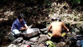 Lack of public water system utilities in Philippine rural communities, forces this woman to wash clothes even in polluted river. San Pablo City, Laguna stock footage