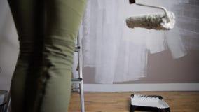 Lack-Rolle mit Lackproben Schönheitsmalereiwand mit Farbenrolle stock video footage