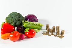 Lack of salary on health food, poverty people. Social advertising. Healthy organic food composition against a stack of coins stock images