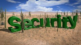Lack of security desert hot day concept. The word security in the desert on a hot and sunny day lack of safety concept 3D illustration Royalty Free Stock Photography