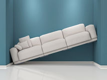 Lack of Space. Sofa Between blue walls Stock Photos