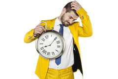 Lack of time for other solutions. Business man Royalty Free Stock Photography