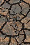Land lying baked in the heat. The bottom of the dried up lake. royalty free stock photography