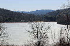 Lackawanna Lake. A view of the frozen Lackawanna Lake in early spring royalty free stock photos