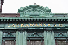 Lackawanna R.R. Sign on display at Hoboken Terminal in Hoboken, New Jersey royalty free stock photo