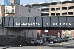 Lackawanna railroad bridge, Scranton, Pennsylvania. Lackawanna Railroad bridge over street in downtown Scranton, Pennsylvania stock photo