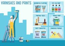 Lacke und Farben speichern flache Vektor-Website lizenzfreie abbildung