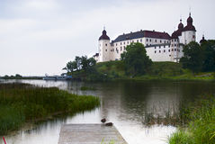 Lacko castle in rain Royalty Free Stock Photo