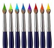 Lackpinsel mit dem Farbenspritzen ausgerichtet vektor abbildung