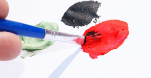 Lackpinsel und -farben Lizenzfreies Stockfoto