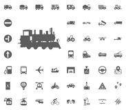 Lacomotive-Ikone Gesetzte Ikonen des Transportes und der Logistik Gesetzte Ikonen des Transportes Stockfotografie