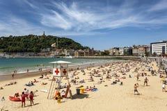 Laconcha-Strand in San Sebastian, Spanien stockbild