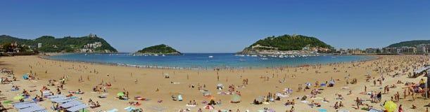 LaConchastrand Donostia-San Sebastian basque land Gipuzkoa spain Arkivbilder