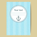 Laconic background in nautical style with anchor and space for text. Vector template for a cover, banner or greeting card Royalty Free Stock Images