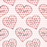Laconic design with large bright linear hearts with inscriptions about love in different languages. Laconic design with large bright linear hearts with Royalty Free Stock Photos