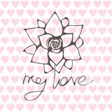 Laconic design with a silhouette of a flower and a romanic inscription with a style of hand-written. On a background of tender pink hearts. Vector seamless Royalty Free Stock Image