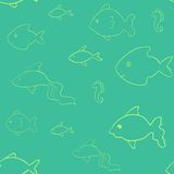 Laconic fish seamless. Laconic fish vector seamless pattern Royalty Free Stock Image