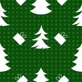 Laconic seamless New Year`s pattern. Laconic seamless New Year`s pattern on a green background Stock Photos