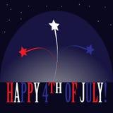 Laconiek beeldverhaalembleem voor de nationale Amerikaanse vakantie - Indep Stock Foto's