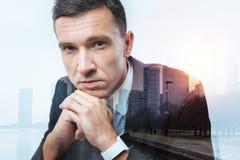 Laconiek portret van een kalme zakenman Stock Fotografie
