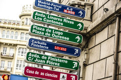 LaCoruna Spain Street signs. Street signs point the way in LaCoruna Spain royalty free stock photography