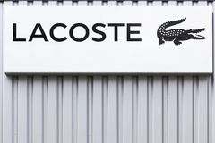 Lacoste logo on a wall Stock Image
