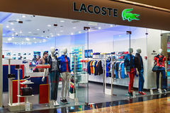 Lacoste shop windows in a shopping center Moscow. Stock Photo